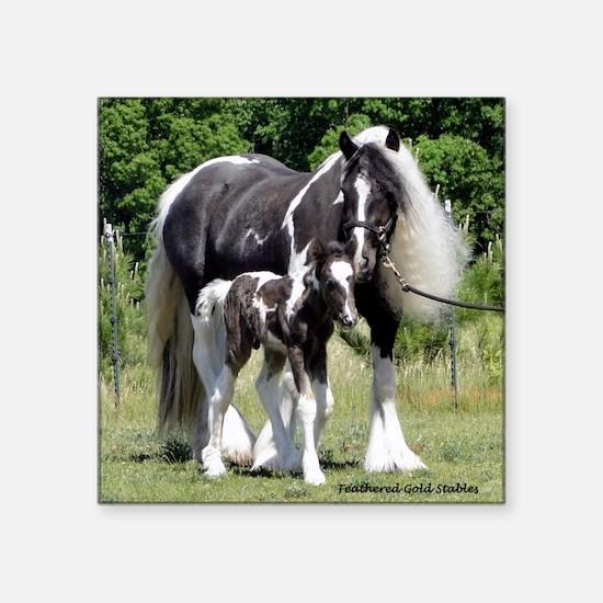 """Champion Gypsy mare and col Square Sticker 3"""" x 3"""""""