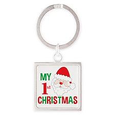 My 1st Christmas Santa Claus Square Keychain