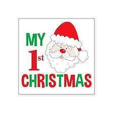 "My 1st Christmas Santa Clau Square Sticker 3"" x 3"""
