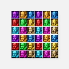 "Pop Art Shakespeare Square Sticker 3"" x 3"""