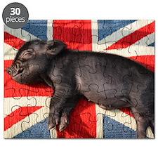 Micro pig sleeping on Union cushion Puzzle