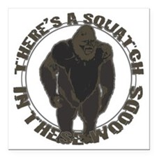 "Bigfoot in woods Square Car Magnet 3"" x 3"""