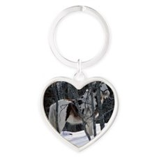 Gypsy Gelding in Winter Setting Heart Keychain