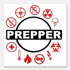 "prepper Square Car Magnet 3"" x 3"""