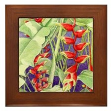Heliconia square Framed Tile