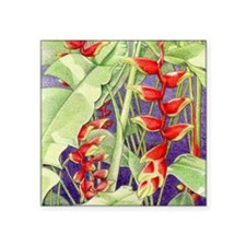 "Heliconia square Square Sticker 3"" x 3"""