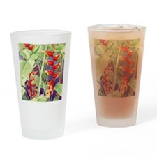 Heliconia square Drinking Glass