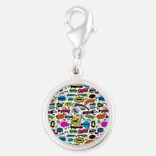 Comic Book Silver Round Charm