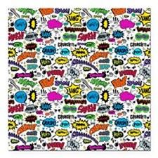 "Comic Book Square Car Magnet 3"" x 3"""