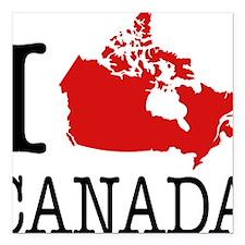 "I Love Canada 1 Square Car Magnet 3"" x 3"""