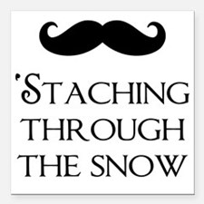 """Staching Through The Sno Square Car Magnet 3"""" x 3"""""""