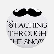 Staching Through The Snow Round Ornament