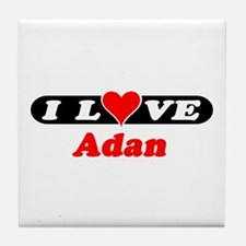 I Love Adan Tile Coaster