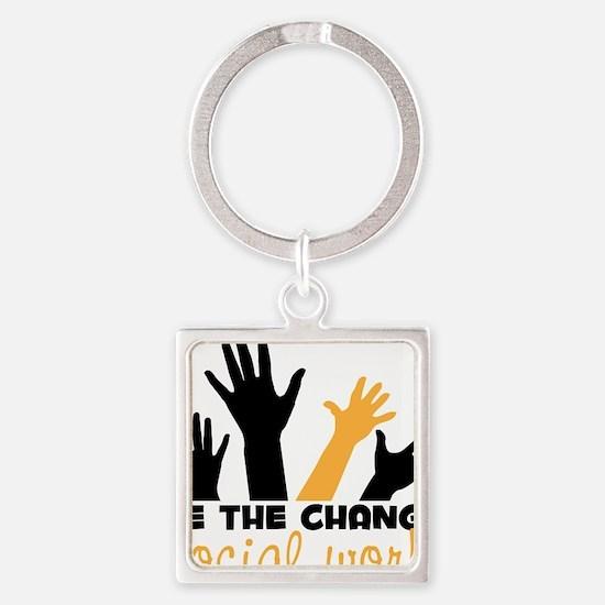 BeThe Change Square Keychain