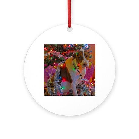 Merry Christmas Mutt Round Ornament
