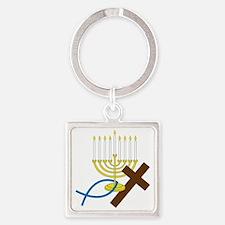 Jewish And Christian Square Keychain