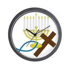Jewish And Christian Wall Clock