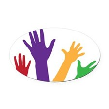 Hands Oval Car Magnet