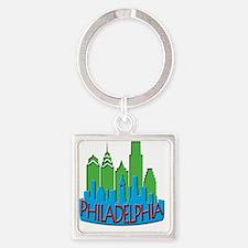 Philly Skyline Newwave Primary Square Keychain