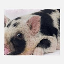 Micro pig chilling out Throw Blanket