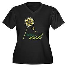 Make A Wish Women's Plus Size Dark V-Neck T-Shirt