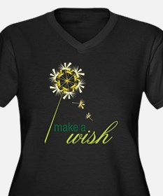 Make A Wish Women's Plus Size Dark V-Neck T-Shirt