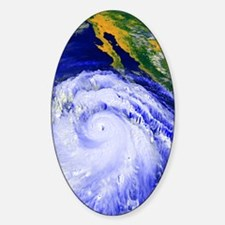 Coloured satellite image of Hurrica Sticker (Oval)