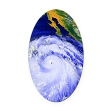 Coloured satellite image of Hurric Oval Car Magnet