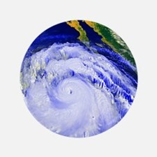 "Coloured satellite image of Hurricane  3.5"" Button"