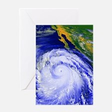 Coloured satellite image of Hurrican Greeting Card