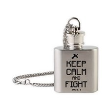 Keep calm and fight on 1c Flask Necklace