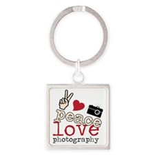 Peace Love Photography Square Keychain