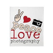 Peace Love Photography Throw Blanket