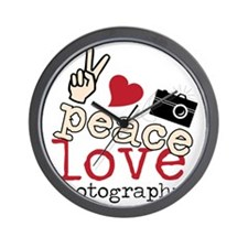Peace Love Photography Wall Clock