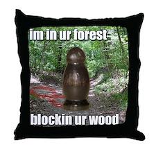 Wood Blockin Throw Pillow