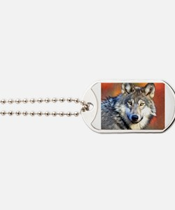 Wolf Art Painting Dog Tags