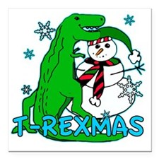 "T rexmas Square Car Magnet 3"" x 3"""