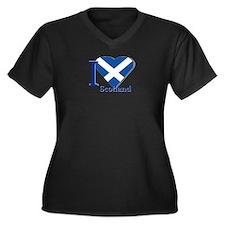 I love Scotl Women's Plus Size V-Neck Dark T-Shirt