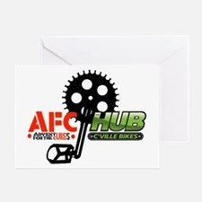 AFC/HUB Pedal Logo (white outline) Greeting Card