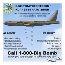 "B-52 Stratofortress SAC  Square Car Magnet 3"" x 3"""