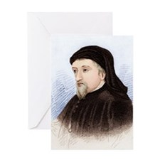 Geoffrey Chaucer, English author Greeting Card