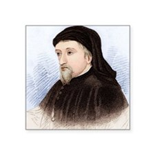 "Geoffrey Chaucer, English a Square Sticker 3"" x 3"""