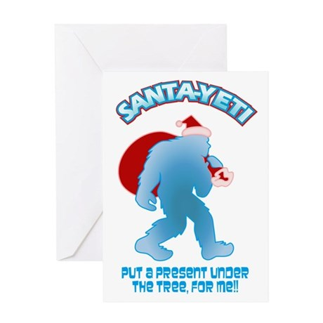 Yeti Santa Present Greeting Cards by whimsicaltroll