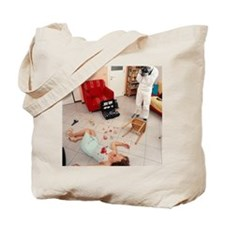 Photographing crime scene Tote Bag