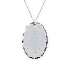 Snowflakes Necklace Oval Charm