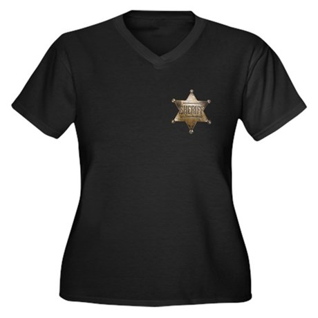 Sheriff - Women's Plus Size V-Neck Dark T-Shirt