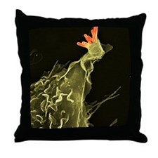 Macrophage engulfing tuberculosis vac Throw Pillow