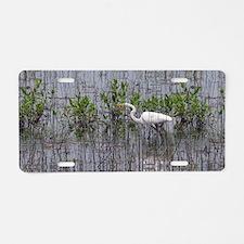 White Egret,  Aluminum License Plate