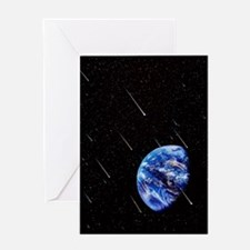 Meteors and Earth Greeting Card