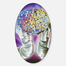 loved hands holding a human brain i Decal